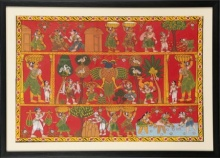 Traditional Indian art title Two headed bird village scene on Cloth - Cheriyal Paintings