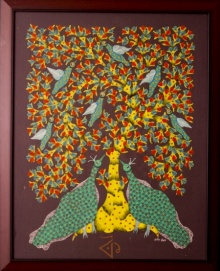 Traditional Indian art title Peacocks Gond Art on Canvas - Gond Paintings