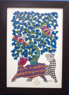 Traditional Indian art title Deer and Peacocks Gond Art 1 on Canvas - Gond Paintings