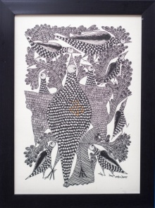 Kalavithi Art Ventures | Gond Traditional art title Peacock family Monochrome on Canvas | Artist Kalavithi Art Ventures Gallery | ArtZolo.com