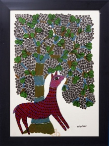Kalavithi Art Ventures | Gond Traditional art title Deer under tree red Gond Art on Canvas | Artist Kalavithi Art Ventures Gallery | ArtZolo.com