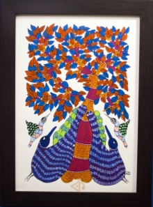 Traditional Indian art title Peacocks Gond Art 2 on Canvas - Gond Paintings
