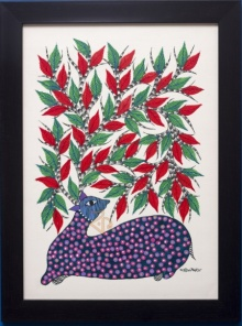 Traditional Indian art title Deer under tree Blue Gond Art on Canvas - Gond Paintings