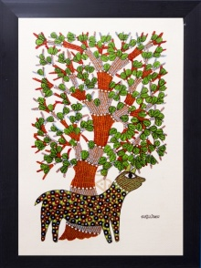 Traditional Indian art title Brown spotted deer Gond Art on Canvas - Gond Paintings