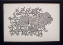 Traditional Indian art title Lion monochrome Gond Art on Canvas - Gond Paintings