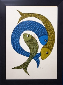 Traditional Indian art title Three fish Gond Art on Canvas - Gond Paintings