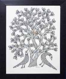 Kalavithi Art Ventures | Gond Traditional art title Peacocks under tree monochrome on Canvas | Artist Kalavithi Art Ventures Gallery | ArtZolo.com