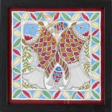 Traditional Indian art title Fish 2 Madhubani Painting on Cloth - Madhubani Paintings