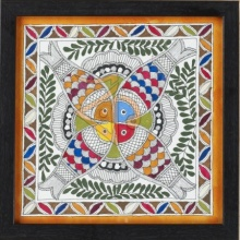 Kalaviti Arts | Madhubani Traditional art title Fish 3 Madhubani Painting on Cloth | Artist Kalaviti Arts Gallery | ArtZolo.com