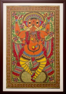 Traditional Indian art title Ganapati orange Madhubani Painting on Cloth - Madhubani Paintings