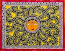 Traditional Indian art title Sun Madhubani Painting on Cloth - Madhubani Paintings