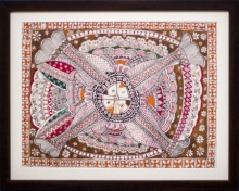 Kalaviti Arts | Madhubani Traditional art title Four fishes Madhubani Painting on Cloth | Artist Kalaviti Arts Gallery | ArtZolo.com