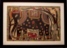 Kalaviti Arts | Madhubani Traditional art title Elephant 2 Madhubani Painting on Cloth | Artist Kalaviti Arts Gallery | ArtZolo.com