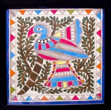 Traditional Indian art title Peacock blue Madhubani Painting on Cloth - Madhubani Paintings