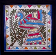 Kalaviti Arts | Madhubani Traditional art title Peacock blue 2 Madhubani Painting on Cloth | Artist Kalaviti Arts Gallery | ArtZolo.com