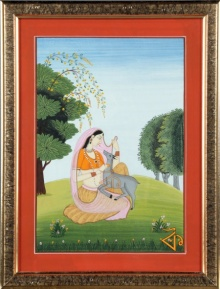 Traditional Indian art title Lady with deer Kangra Art on Handmade Paper - Mughal Paintings