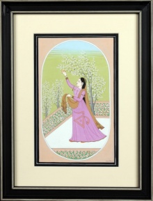 Traditional Indian art title Ragini vasanti 1 Kangra Art on Handmade Paper - Mughal Paintings