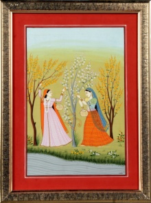 Traditional Indian art title Ragini vasanti 2 Kangra Art on Handmade Paper - Mughal Paintings