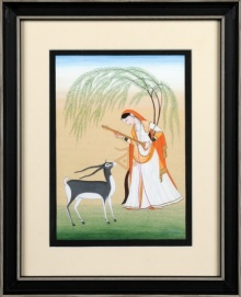 Traditional Indian art title Ragini Todi 1 Kangra Art on Handmade Paper - Mughal Paintings
