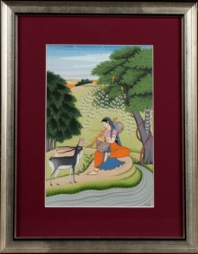 Traditional Indian art title Ragini Todi 2 Kangra Art on Handmade Paper - Mughal Paintings