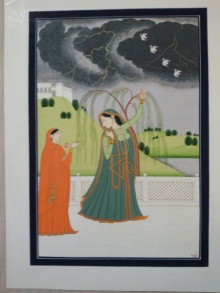 Traditional Indian art title Virharinayika Kangra Art on Handmade Paper - Mughal Paintings