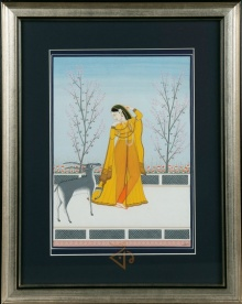 Traditional Indian art title Raagmala Kangra Art on Handmade Paper - Mughal Paintings