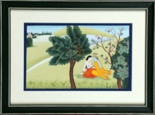 Traditional Indian art title Radhakrishna Kangra Art on Handmade Paper - Mughal Paintings