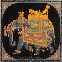 Traditional Indian art title Elephant on Silk Cloth - Miniature Paintings