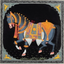 Traditional Indian art title Horse on Silk Cloth - Miniature Paintings
