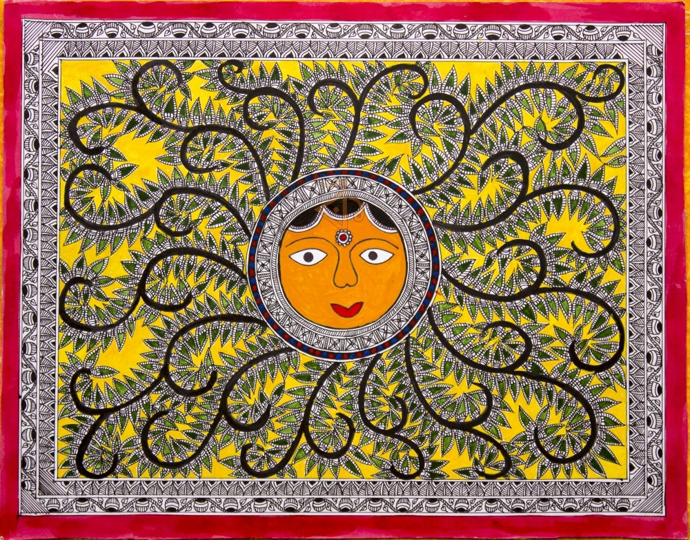 Sun Madhubani Painting By Kalaviti Arts Cloth
