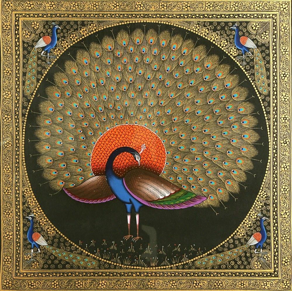 Peacock By Kalaviti Arts Miniature Paintings Silk Cloth Traditional Art
