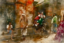 Pushkar Chatterjee | Rickshaw Puller 1 Digital art Prints by artist Pushkar Chatterjee | Digital Prints On Canvas, Paper | ArtZolo.com
