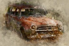 Vintage Car | Digital_art by artist Pushkar Chatterjee | Art print on Canvas