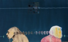 Figurative Acrylic Art Painting title 'Communication Between Man To Man' by artist Mukesh Hattarge