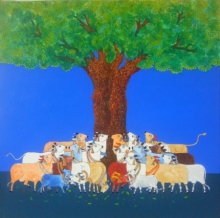 Mukesh Hattarge | Mixed-media Painting title Cow on Canvas | Artist Mukesh Hattarge Gallery | ArtZolo.com