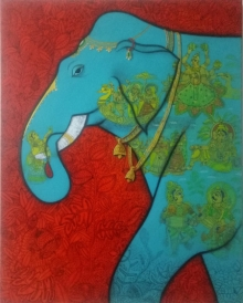 Mukesh Diliprao Hattarge | Mixed-media Painting title Elephant on Canvas | Artist Mukesh Diliprao Hattarge Gallery | ArtZolo.com