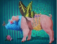 Pig 1 | Painting by artist Sanjay Kumar | acrylic | Canvas
