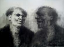 Figurative Oil Art Painting title 'The Talks' by artist Aditya Puthur