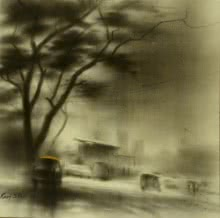 Cityscape Charcoal Art Drawing title 'A Way' by artist Ravi Sthul