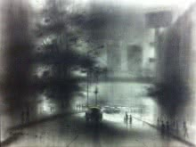 Cityscape Charcoal Art Drawing title 'Busy Road' by artist Ravi Sthul