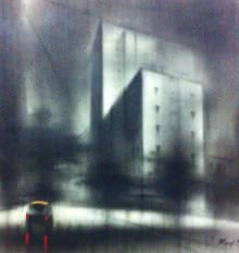 Cityscape Charcoal Art Drawing title Lonely Car by artist Ravi Sthul