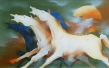 Animals Acrylic Art Painting title Forceful Horses by artist Vishnu Sonavane