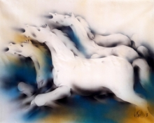 Animals Acrylic Art Painting title Horses by artist Vishnu Sonavane