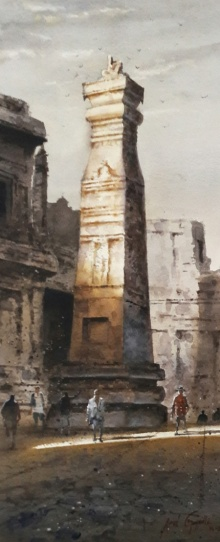 Ellora 3 | Painting by artist Atul Gendle | watercolor | Paper