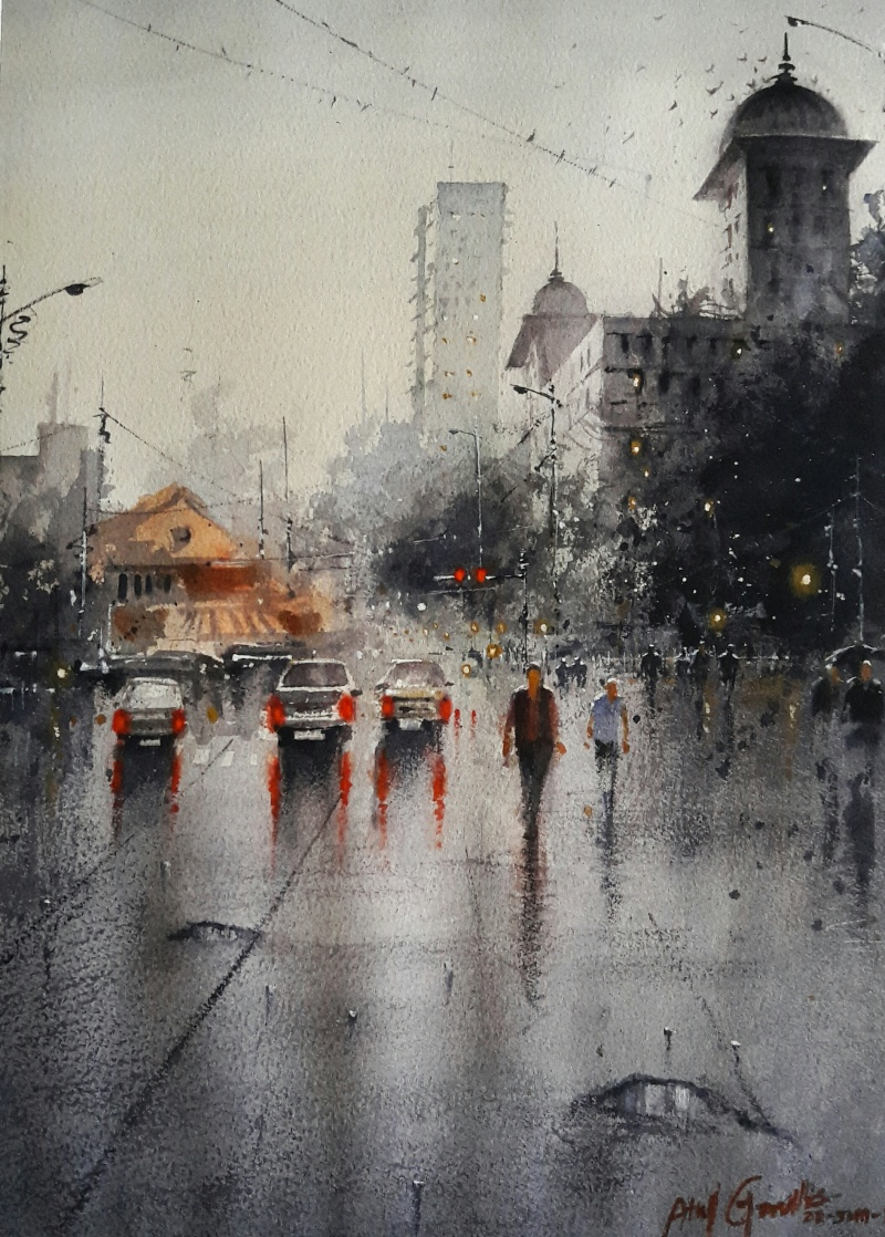 Rainy Season 2 By Artist Atul Gendle Cityscape Art