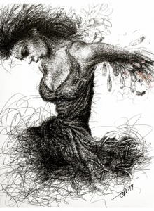 Pen-ink Paintings | Drawing title Dancing With Guitar on Paper | Artist Pratap Chakraborty