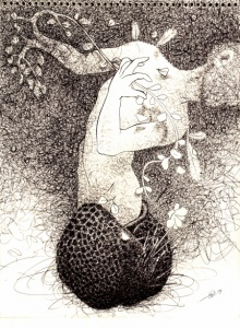 Pen-ink Paintings | Drawing title The Lost Seed on Paper | Artist Pratap Chakraborty