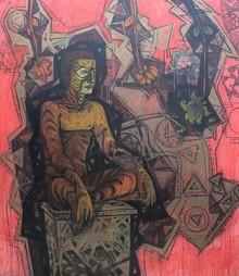 Figurative Acrylic Art Painting title Bhram by artist Abhishek Chourasia