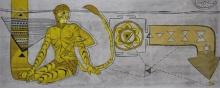 Figurative Etching Art Drawing title Depth Of Sprituality by artist Abhishek Chourasia
