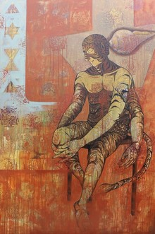 Figurative Acrylic Art Painting title Shank Naad by artist Abhishek Chourasia
